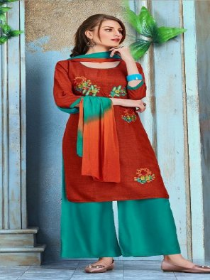 rust rayon fabric embroidery work casual