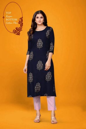 navy blue rayon fabric print work casual