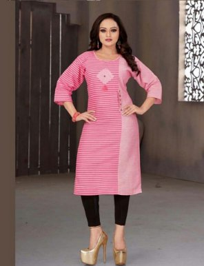 rose pink cotton fabric print work casual