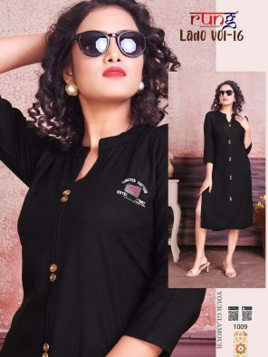 black heavy rayon fabric touch up work casual