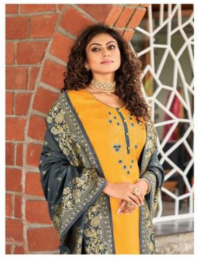 yellow top -jam silk cotton with embroidery and seqeunce work |bottom -rayon |dupatta -silk jacqaurd fabric embroidery work wedding