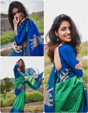 parrot blue soft lichi silk fabric weaving jacqaurd work festive