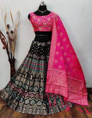 black lehenga -banarasi brocade silk with cancan inner semi stitch  blouse -banarasi silk full stitch 38 ready upto 40  dupatta -pure banarasi silk fabric weaving jacqaurd work casual