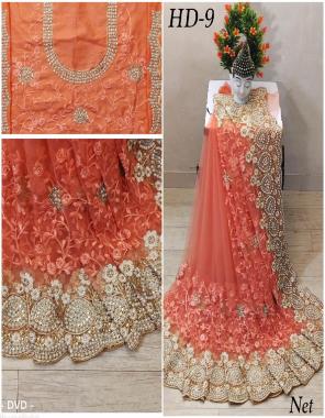 orange saree -net with embroidery diamoond work  blouse -banglori with embroidery fabric embroidery dimaond  work ethnic