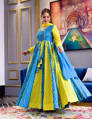 sky parrot gown -heavy butter silk with digital printed length 54  dupatta -heavy georgette  fabric digital printed work wedding