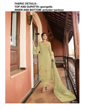 parrot top and dupatta -georgette  bottom + inner -santoon fabric embroidery work casual