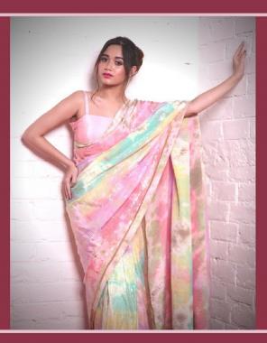 multi saree-soft vichitra silk | blouse -banglori satin  fabric embroidery seqeunce work festive