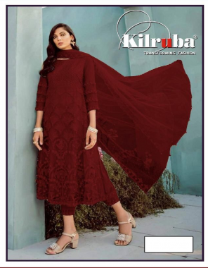 red top -super net embroidery seqeunce work  bottom + inner -santoon  dupatta -super net  type -semi stitched  size -fit upto 56  length -42 fabric embroidery sequence work wedding