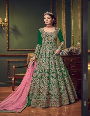 green top -heavy taffeta with embroidery |sleeve -heavy taffeta | inner -silk |bottom -banglori silk |dupatta -net |length -max upto 54+ | size -max upto 44+ |type -semi stitched fabric embroidery work wedding