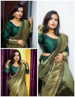 green soft lichi silk fabric weaving jacqaurd work running