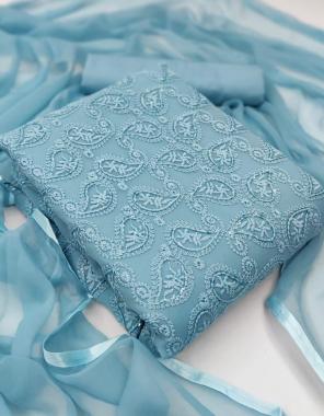 sky  top -georgete 1.90m |bottom +inner -heavy crepe 3.5m |dupatta -nazmin 2.10m fabric embroidery work ethnic