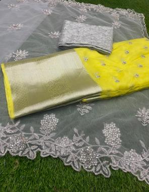 yellow lehenga-pure organza seqeunce 3m  blouse -banglori silk 1m  dupatta -organza 2.30m fabric sequence embroidery work ethnic