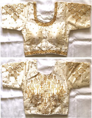 white fentam silk fabric embroidery work wedding