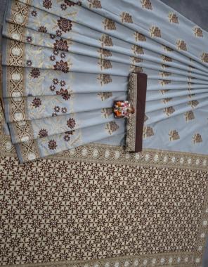 grey soft lichi silk fabric weaving jacqaurd  work ethnic