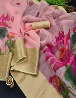 pink kanchipuram organza  fabric jacqaurd silk border  work running