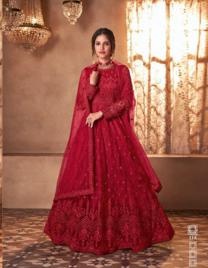 red top-butterfly net with embroidery  bottom +inner -premium satin  dupatta -butterfly net fabric embroidery work wedding