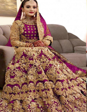 marron lehenga -pure velvet with embroidery cancan inner diamond work |inner -silk with heavy cancan |dupatta -net with embroidery 2.10m|blouse -pure velvet silk with embroidery|dupatta- net with embroidery |waist -42+ |length -42+ |flair -2.50 |type  -semi stitched  fabric embroidery work festive