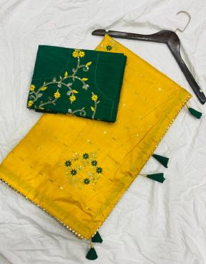 yellow pure dola silk fabric embroidery seqeunce work work ethnic
