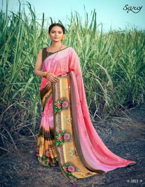 light pink saree -5 star patta khushi brasso print  blouse -banglori fabric printed  work casual