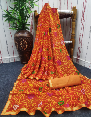 orange cotton crus silk fabric bandhani print work party wear