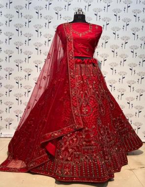 red fabric -butterfly net   free size  upto 46  height 43  flair  -2.75m  blouse -net 1m  dupatta -net 2.50m  type -semi stitched  fabric embroidery seqeunce diamond work work running