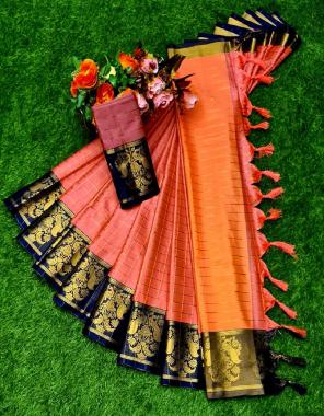 orange pure cotton silk fabric weaving work running