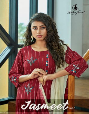 marron top -rayon strip with embroidery work |bottom -cotton slub lycra with embroidery |dupatta -pure naylon viscose weaving 2.20m fabric embroidery work party wear