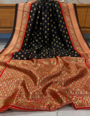 black pure kanchipuram silk fabric weaving jacqaurd work casual