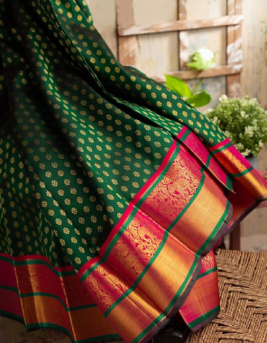 green pure kanchipuram silk fabric weaving jacqaurd work ethnic