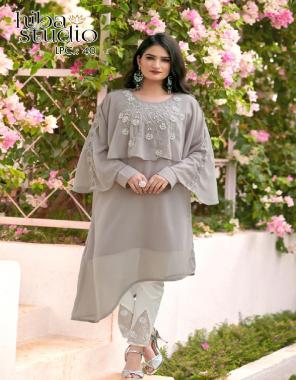 grey top -pure georgette |bottom -pure cotton stretchable fabric fancy designer handwork work wedding