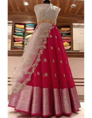 pink lehenga - pure kanchipuram border 3m  blouse -banglori satin 0.90m  dupatta -organza cut work 2.30m fabric embroidery work running