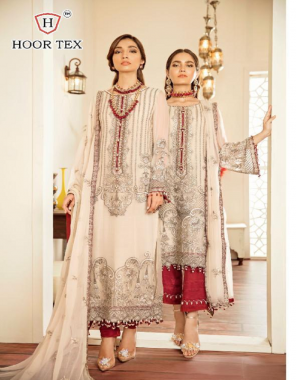 white top -heavy georgette embroidery daman patch |bottom + inner -santoon |dupatta -nazmin embroidery |size -56(8xl) | type -semi stitched fabric embroidery work casual