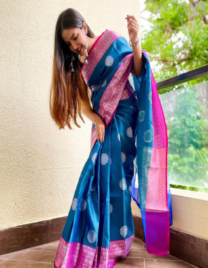 blue sky soft kanjivaram lichi silk fabric weaving jacqaurd work party wear