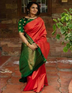 red soft lichi silk fabric weaving jacqaurd work party wear