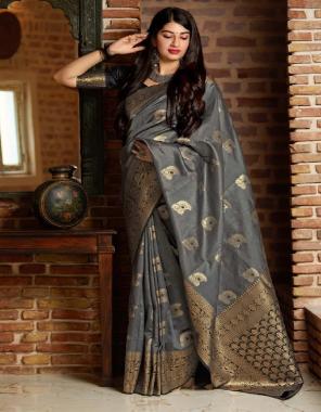 grey soft lichi silk fabric weaving jacqaurd work festive