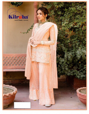 orange top -geaorgette embroidery paper mirror   bottom +inner -georgette with santoon  dupatta -chiffon  type -semi stitched  size -fit upto 56  length - 42  type -semi stitched fabric embroidery paper mirror work festive