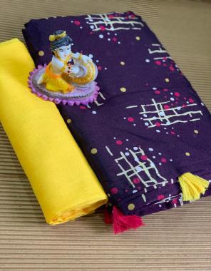 purple saree -soft cotton  blouse -banglori silk fabric printed work festive