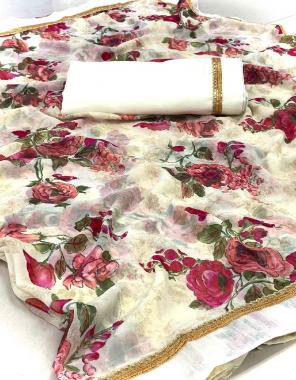 white saree-georgette |blouse -banglori silk fabric printed lace border work casual