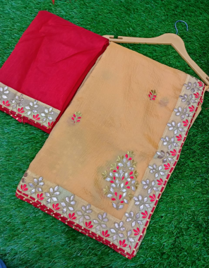light orange saree -rinkal chiffon |blouse -banglori fabric gotta patti work festive
