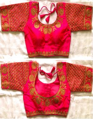 pink fentam silk fabric embroidery coding thread work festive
