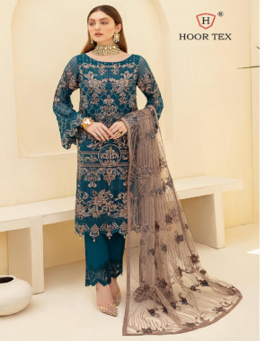 rama green top -heavy georgette with embroidery seqeunce  bottom + inner -santoon  dupatta -net  size -58(9xl)  type -semi stitched fabric embroidery seqeunce  work running