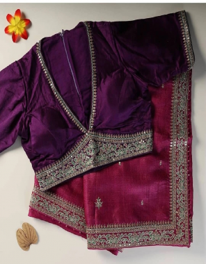 dark wine saree -soft vichitra silk  blouse -banglori silk fabric embroidery seqeunce coding  work ethnic
