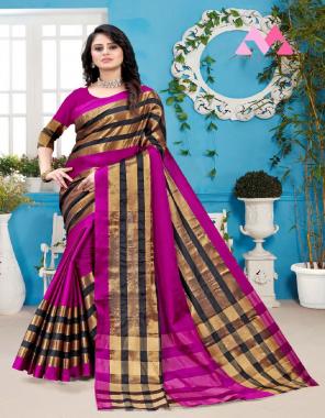 dark pink aura silk fabric jacqaurd border work festive