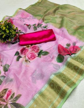 light pink tabby silk fabric digital print work running