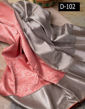 peach pure kachipuram silk fabric weaving sliver zari work party wear