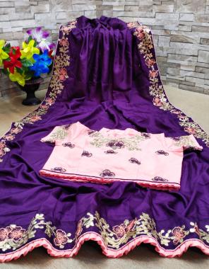 purple saree -dola silk embroidery gotta patti |blouse -fancy readymade size 42 to 44 full stitch fabric embroidery gotta patti work party wear