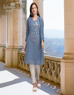light grey top -fox georgette |pant -imported with inner  fabric embroidery fancy handwork work party wear