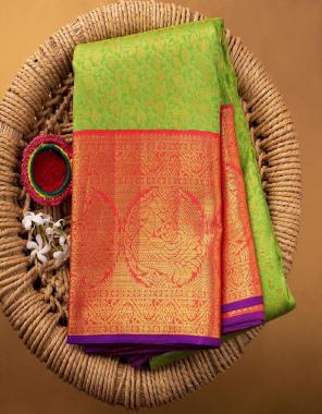 parrot soft banarasi lichi silk fabric weaving jacqaurd work wedding