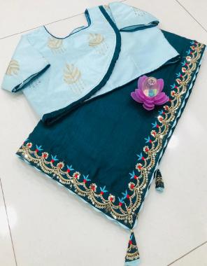 rama blue saree -pure dola silk embroidery seqeunce  blouse -full stitch 38 ready upto 44  fabric seqeunce embroidery work running
