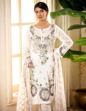 white top -pure cotton embroidery |bottom -semi lawn |dupatta -chiffon |type -semi stitched   fabric embroidery digital print work wedding